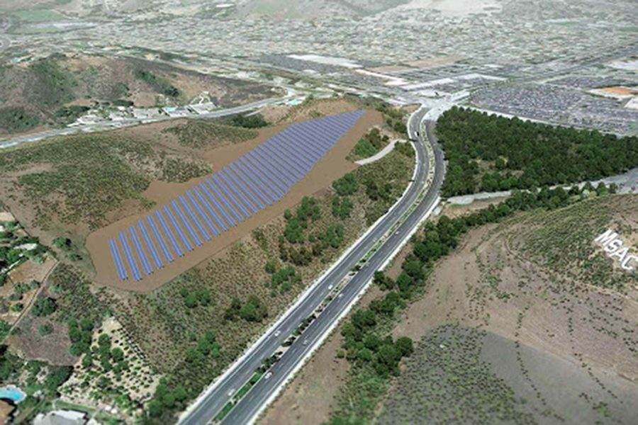 An artist's rendition of the Solar Farm along Grand Ave. Photo from the Mt. SAC website.