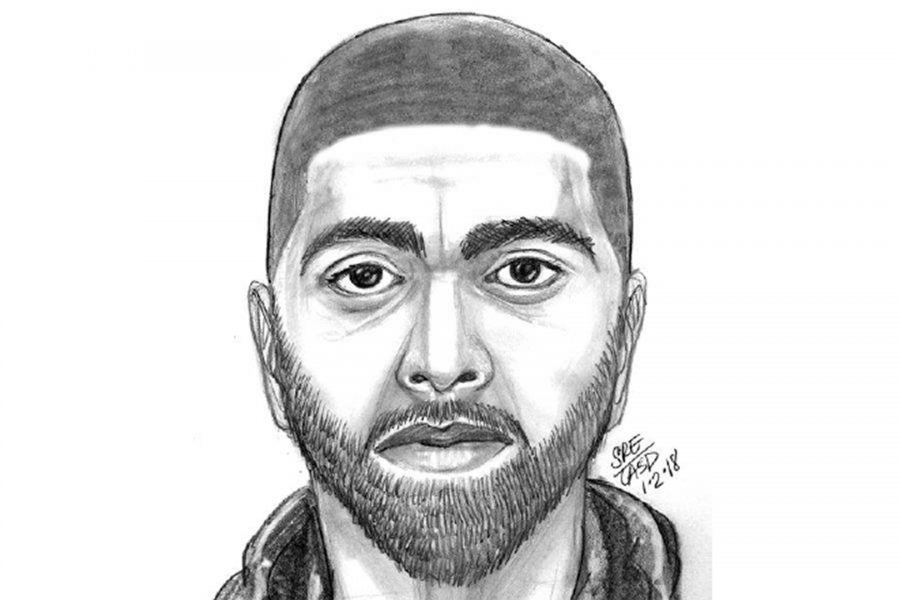 Sketch of the sexual assault suspect released by the Los Angeles County Sheriff's Department.