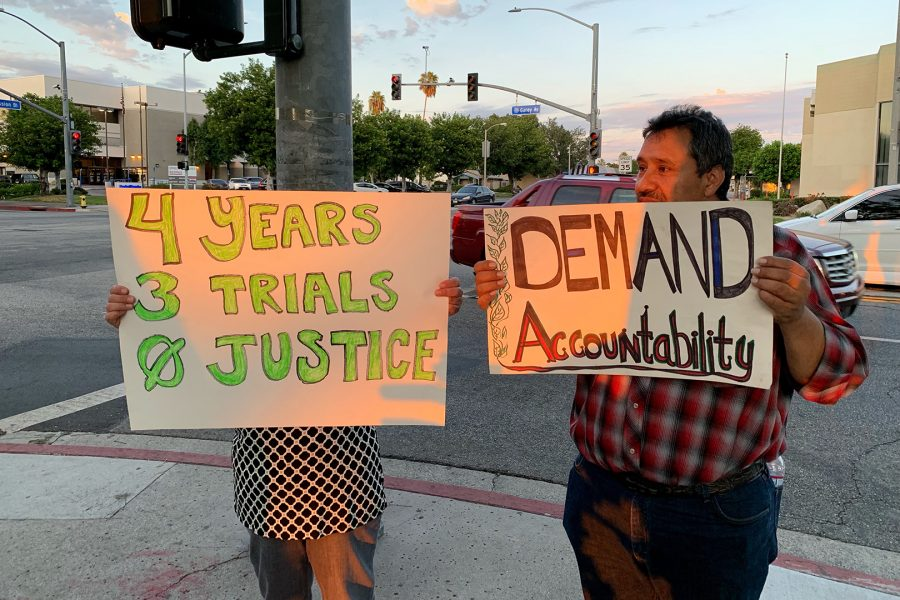 Activists Pedro Molina and Patricia Gamboa protest before Pomona City Council meeting on Sept. 16, 2019. photo credit: Lily Lopez/SAC.Media.