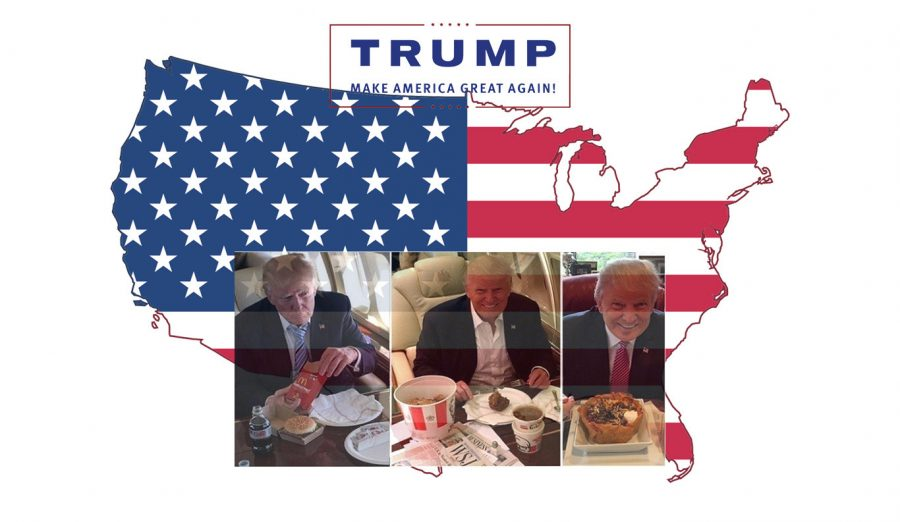 President Trump, making America Great, one high calorie meal at a time. Photo Credit: Coke Hernandez/ SAC.Media