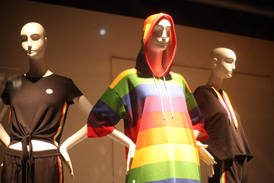 Mannequins are adorned in pride colors in the windows of the H&M on Powell Street in San Francisco's Union Square on June 17. Photo Credit: Abraham Navarro/SAC.Media.