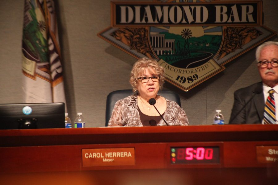 Mayor Carol Herrara speaks at the council meeting on August 6. Photo credit: Abraham Navarro/SAC.Media