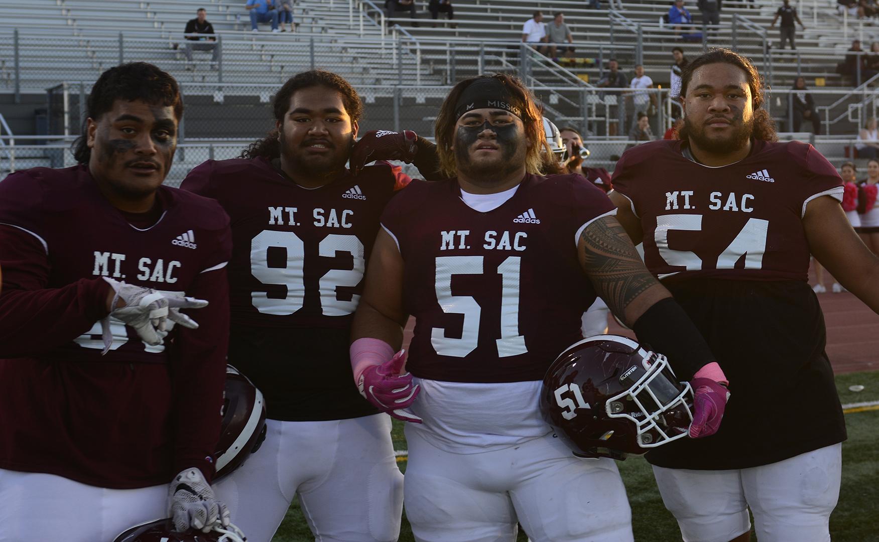 Left to right: Defensive linemen Eucharise J. Brown, Inoke Katoa, offensive linemen Tony Aiono Jr. and defensive lineman Tevita Fuimaono. Photo credit: Mychal Corbin/SAC.Media