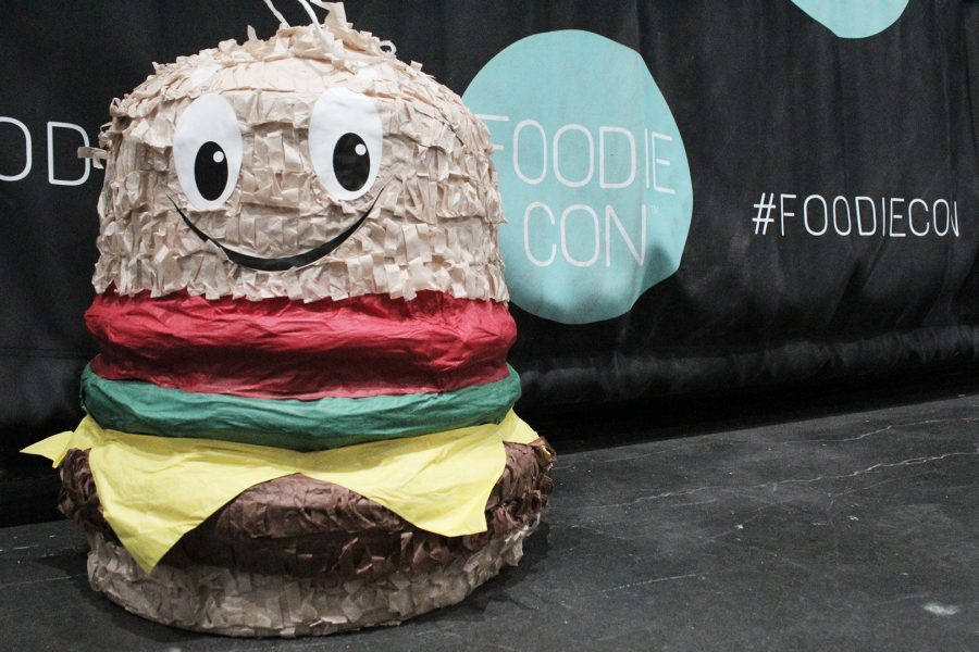 A large lifesized burger was displayed infront of the FoodieCon entrance. Photo credit: Andy Lizarraga.