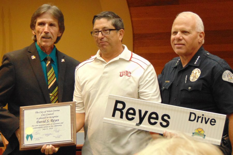 Officer+David+Reyes+was+recognized+by+the+council+on+Aug+21.+Mayor+Lloyd+Johnson+and+Police+Chief+Marc+Taylor+both+said+a+few+words+in+honor+of+the+retiring+West+Covina+officer.+Photo+Credit%3A+Joshua+Sanchez%2FSAC.Media.