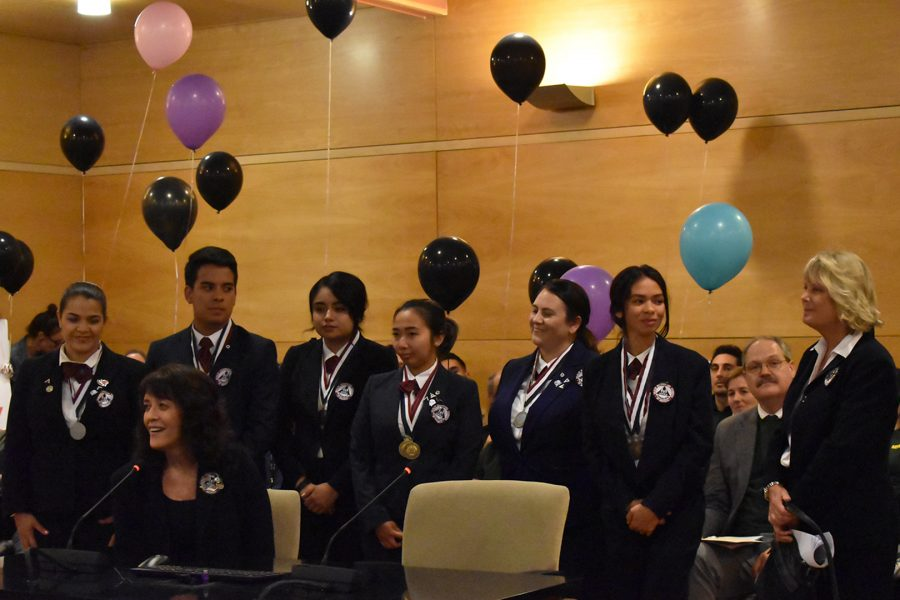 The Mt.SAC Health Occupations Students of America, HOSA, spoke at the Board of Trustees meeting on May 8 about the awards they won. They won 19 medals total, 12 gold, six silver, and one bronze medal at the State Leadership Conference. Photo credit: Daena Acevedo/ SAC.Media.