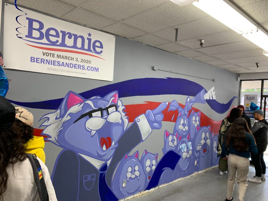 The Bernie Sanders campaign outreach office in Pomona featured a mural made by local artist Joe Ded at the office's opening on Feb. 23, 2020. Photo Credit: Kareem Majeed/SAC.Media.