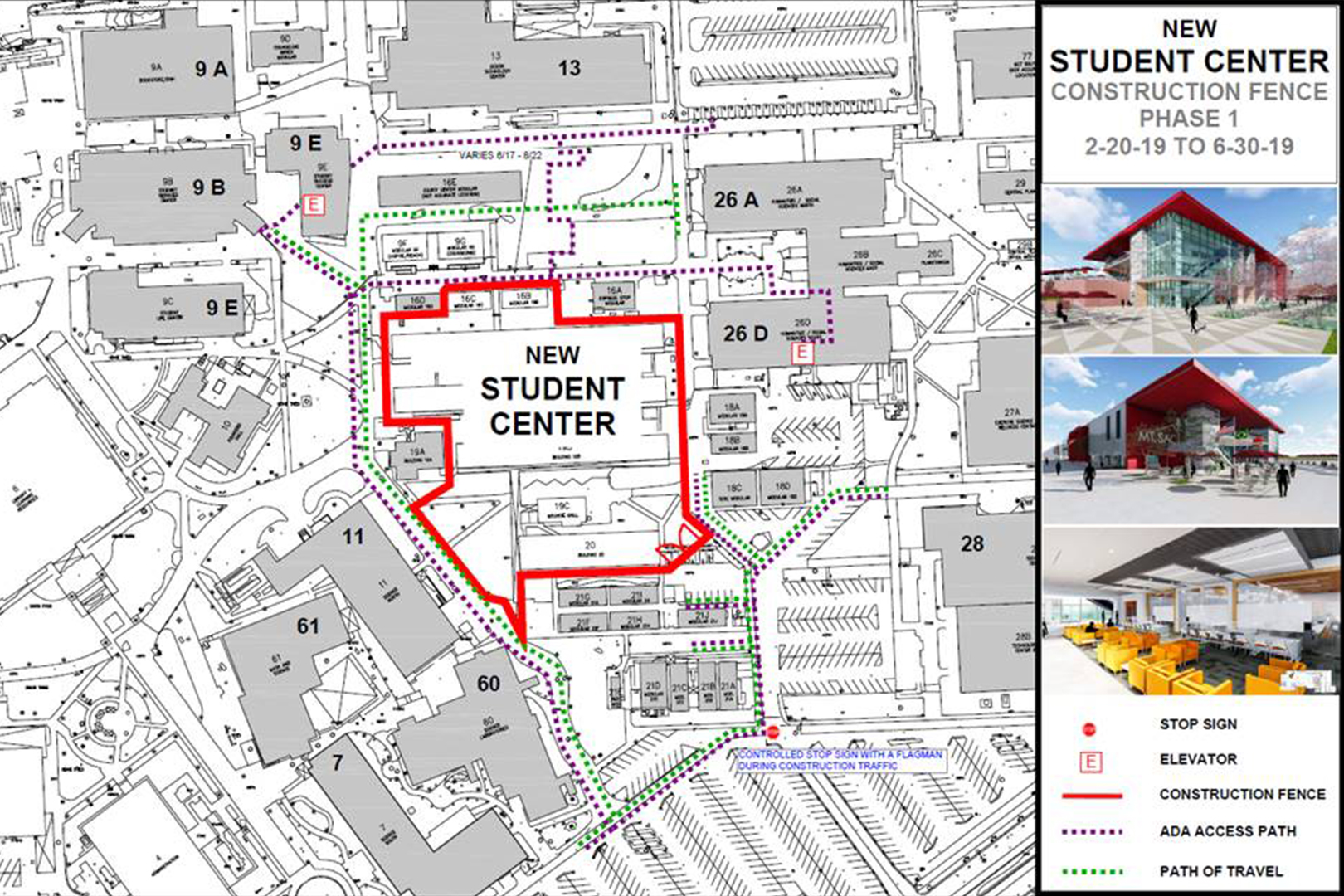 Foot Traffic During Student Center Construction