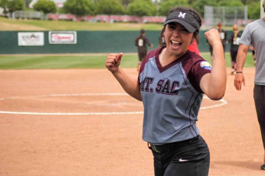 Ally Longtree, player number 1, celebrates their victory against Palomar College on May 18. Photo Credit: Abraham Navarro/SAC.Media