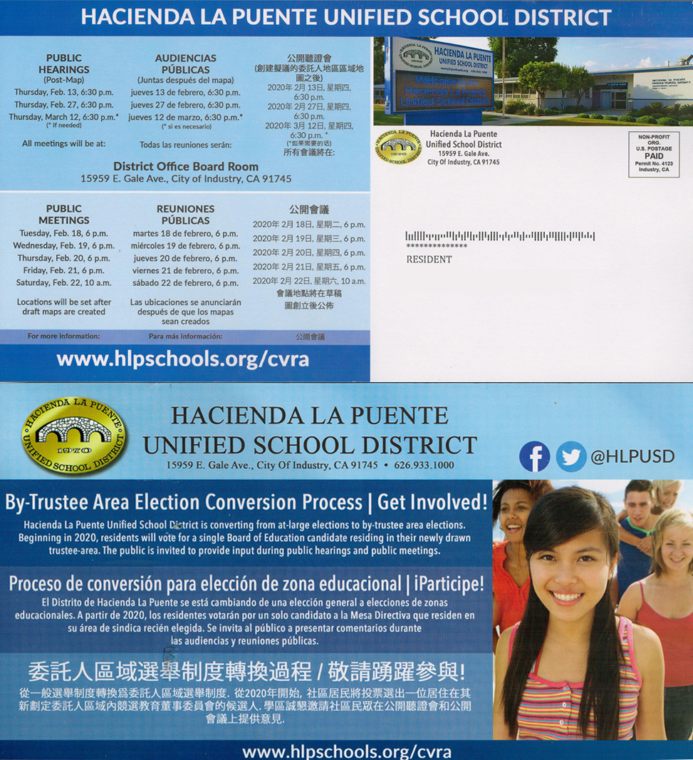 Mailed HLPUSD Postcard