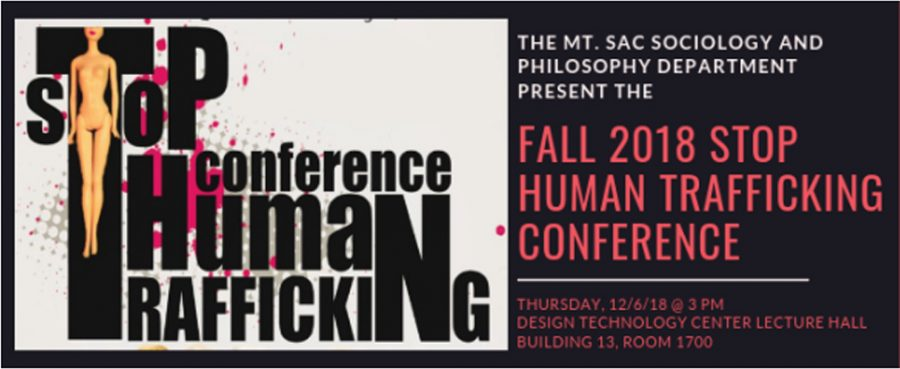 Stop Human Trafficking Event flyer. The event was hosted by the Mt. SAC Sociology and Philosophy department.
