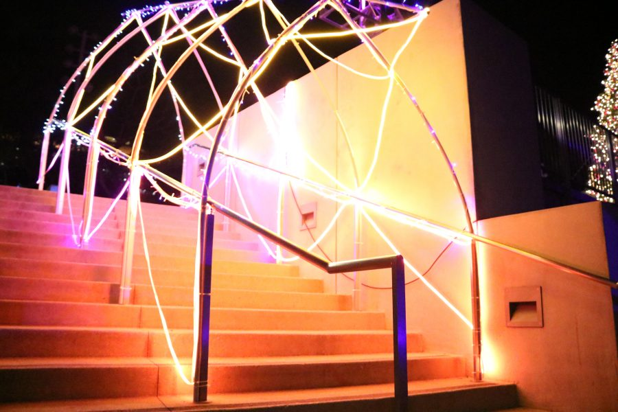 A set of stairs transformed with lights titled