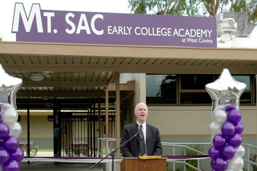 Mt. SAC President Dr. William Sroggins speaks as the West Covina Unified School District partnering with Mt. SAC to create the Mt. SAC Early College Academy, a small high school with a four-year college preparatory educational program designed to fulfill the A-G UC requirements in West Covina, Calif., on Thursday, March 15, 2018. (Photo by Keith Birmingham, Pasadena Star-News/SCNG)