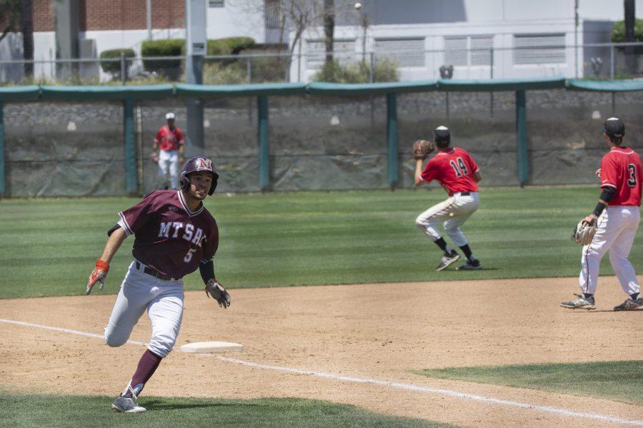 Mt. SAC Baseball's Nic Sandoval rounds third base at Mazmanian Field on Saturday, May 5. Photo Credit: Mychal Corbin @shotstotheheart