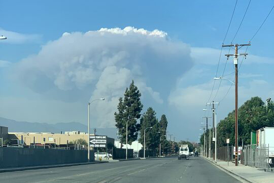 The Bobcat Fire sends a plume of smoke into the sky on Sept. 18, 2020 as evacuation mandates are put into place. Photo courtesy of Jorge Navarro Sr.
