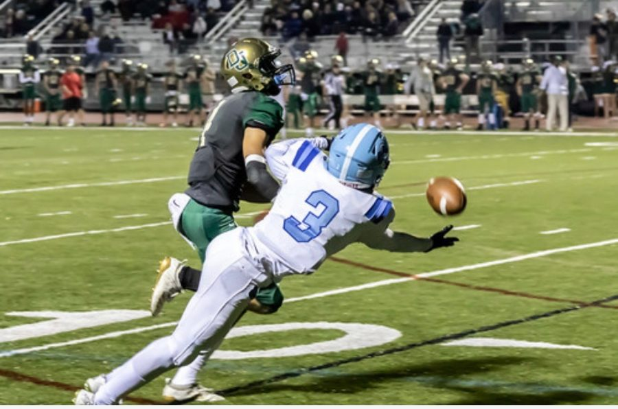 Weitzel makes a diving one handed catch against Dublin Jerome highschool, while playing for Olentangy Berlin High School. Oct 25, 2019  Photo courtesy of Jalen Weitzel