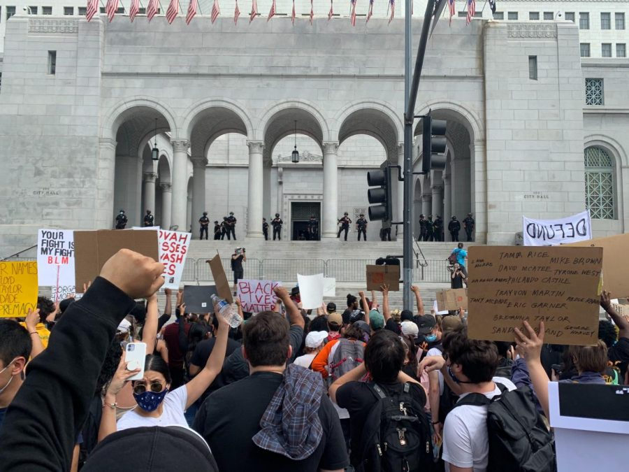 Protesters+gather+outside+the+Hall+of+Justice+in+Downtown+L.A.+on+June+2%2C+2020+during+George+Floyd+protests.+%0APhoto+credit%3A+Monica+Inouye%2FSAC.Media