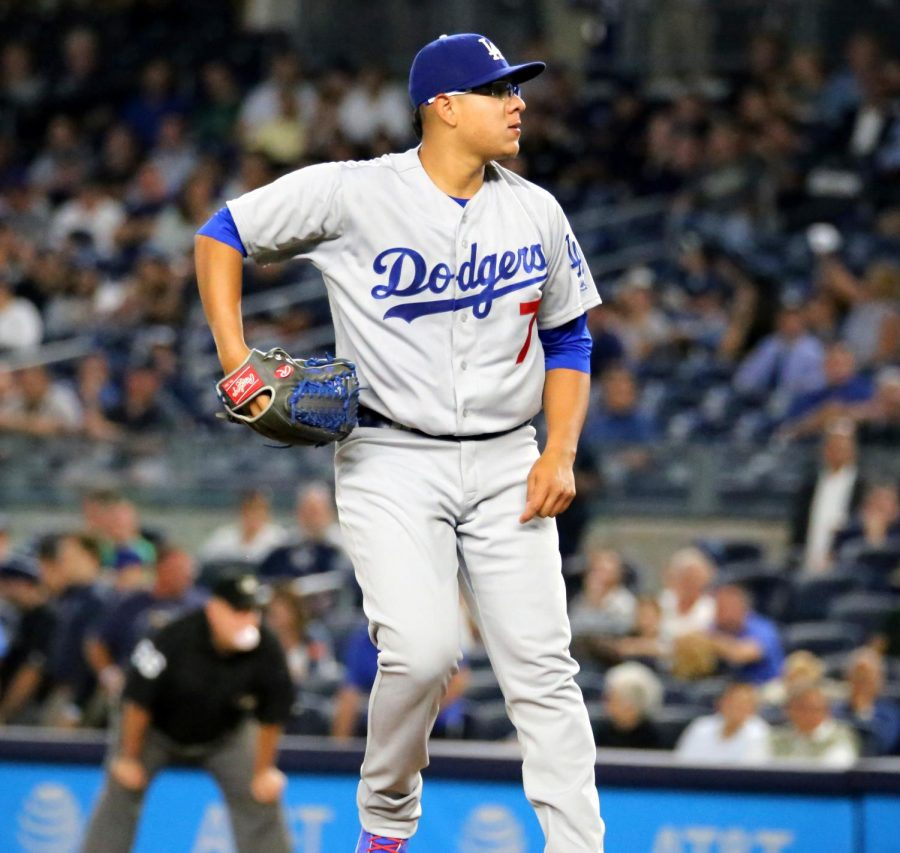 Dodgers starter Julio Urias delivers a pitch in the first inning. Date	13 September 2016,