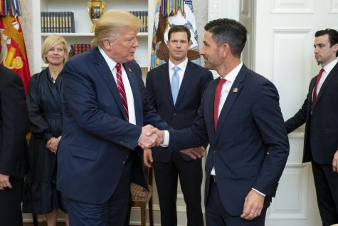 President Donald J. Trump welcomes Department of Homeland Security Undersecretary Chad Wolf to the Oval Office for Wolf's ceremonial swearing-in Friday, Nov. 15, 2019, at the White House.  Posted from The White House on flickr.