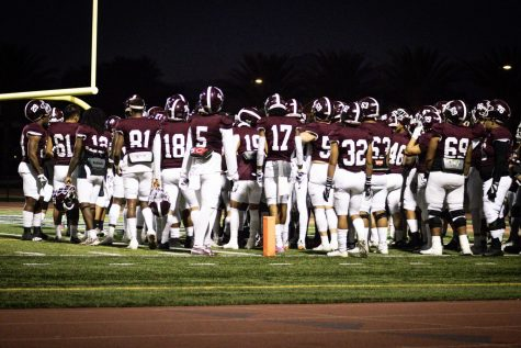 Mt. SAC players huddling up before facing off against Fullerton.