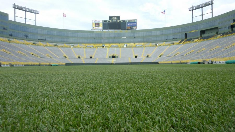 View of Lambeau Field, home of the Green Bay Packers from the South endzone.  Aug. 2 2010