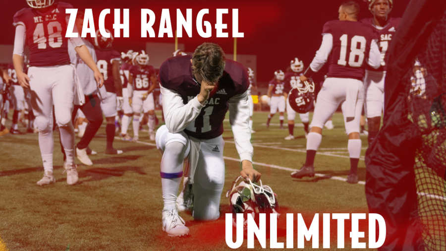 Zach+Rangel+takes+in+a+moment+of+prayer+on+the+Covina+District+Field+before+the+penultimate+regular+season+game+against+San+Diego+Mesa+on+Saturday+Nov.+9.+Photo+Credit%3A+Mychal+Corbin