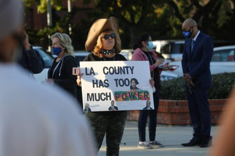 Sarah Beth McHargue Love protests at the Change West Covina press conference outside of the West Covina City Hall on March 16, 2021. Photo credit: Abraham Navarro/SAC.Media.