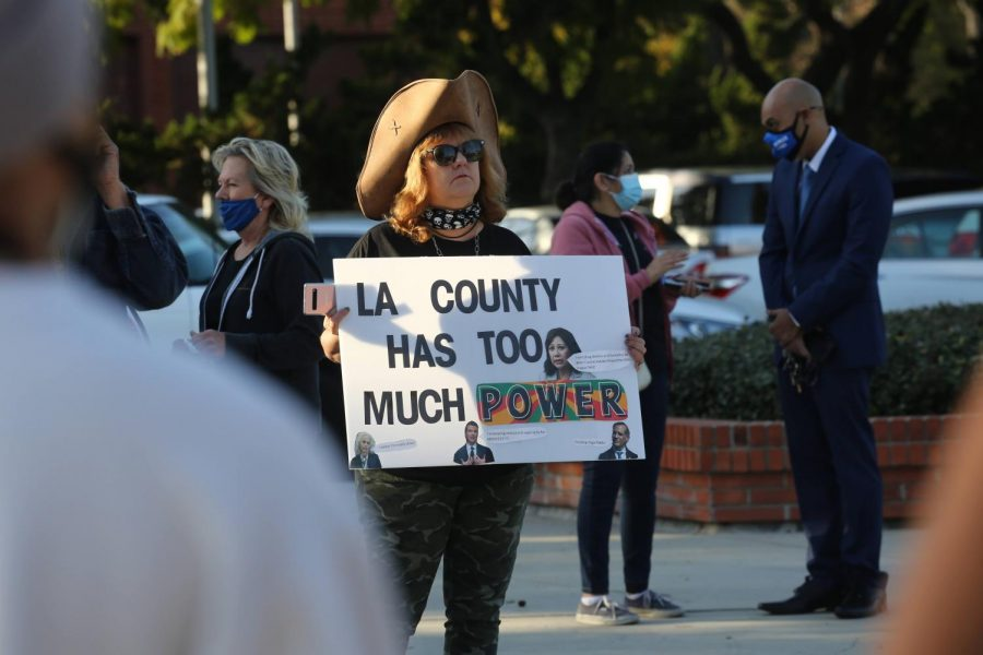 Sarah+Beth+McHargue+Love+protests+at+the+Change+West+Covina+press+conference+outside+of+the+West+Covina+City+Hall+on+March+16%2C+2021.+Photo+credit%3A+Abraham+Navarro%2FSAC.Media.+