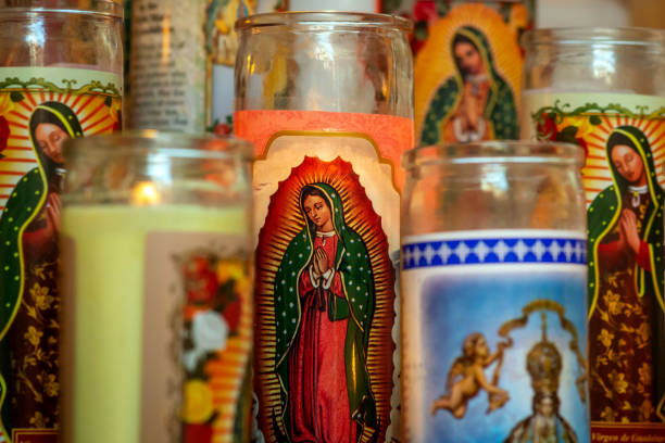 This is a collection of prayer candles on display at a Catholic shrine in San Antonio, Texas.