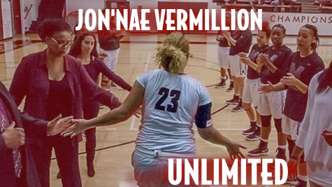 JonNae Vermillion during player introductions for the 2016 Mt. SAC womens basketball team. Photo Credit: Mt. SAC Womens Basketball @mt.sacwbk