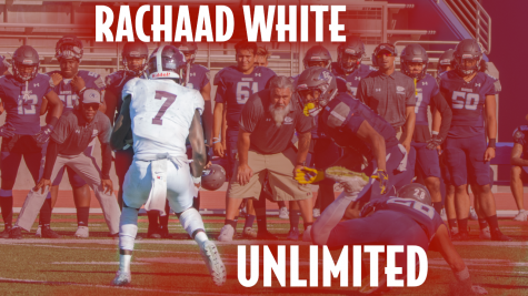Running back Rachaad White during a play on Murdock Field against El Camino. Photo credit: Mychal Corbin/SAC.Media