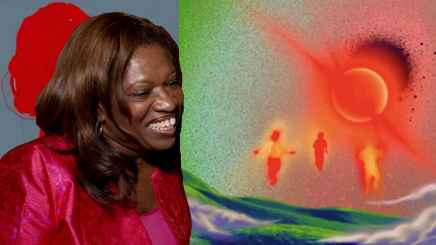 Kanye's mother, Donda West, is featured alongside initial conceptual album art for Donda.