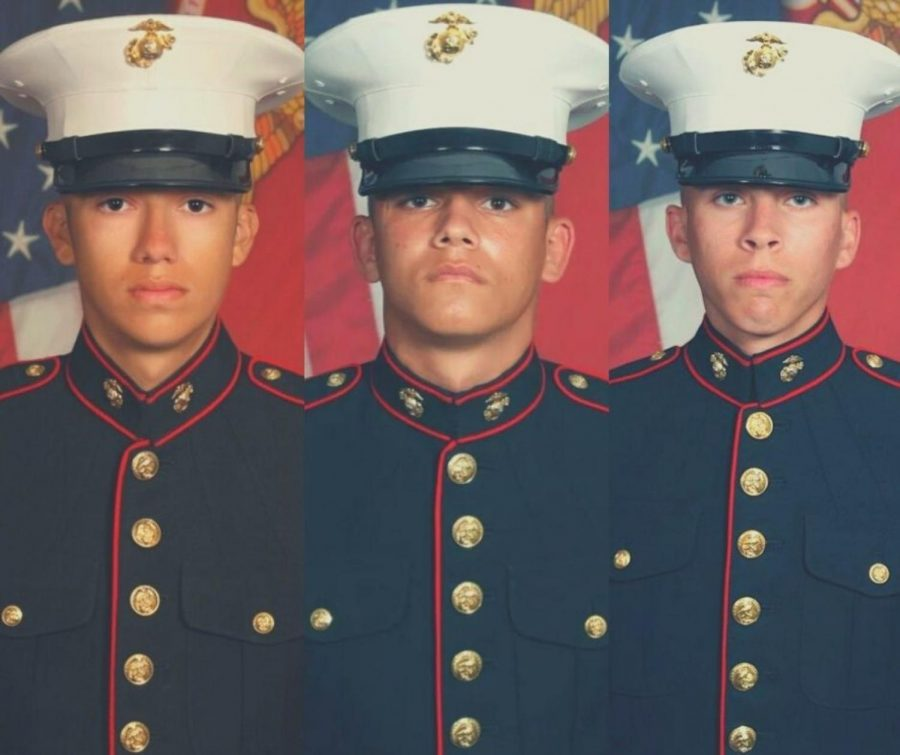 Cpl. Hunter Lopez, Lance Cpl. Kareem Nikoui, and Lance Cpl. Dylan Merola U.S. Marine Corps, from left to right.