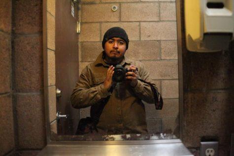 Abraham Navarros self portrait in a mirror.