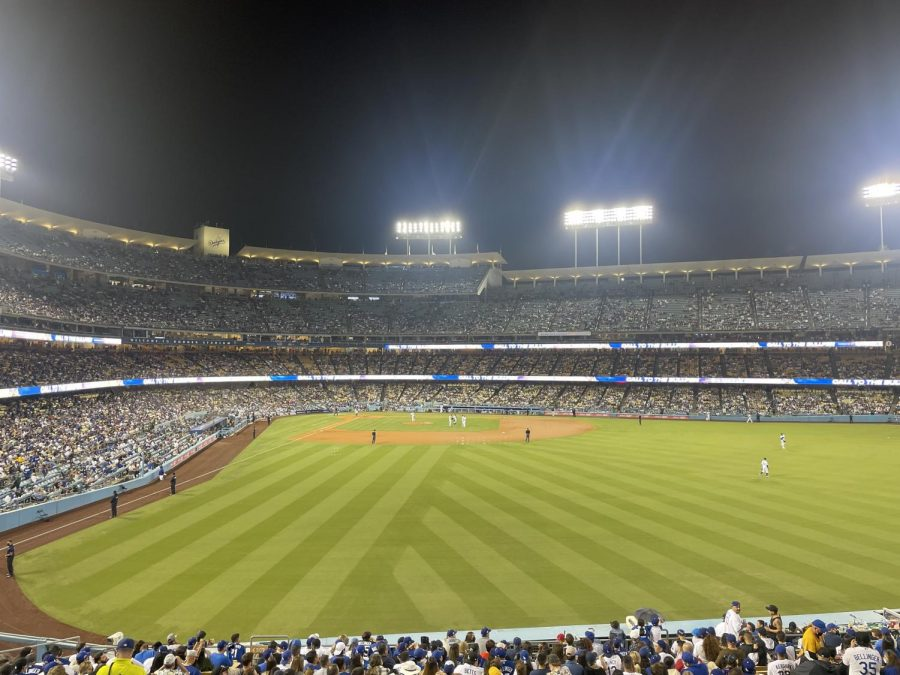 Dodger Stadium full of rowdy Dodger Fans enjoying a against the Colorado Rockies